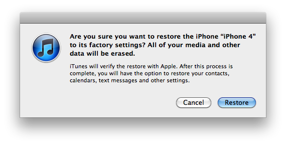"Prompt text: ""Are you sure you want to restore the iPod to its factory settings? All of your mnedia and other date will be erased."""