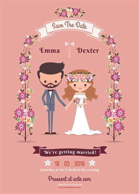 Rustic Bohemian Cartoon Couple Wedding Card Stock Vector