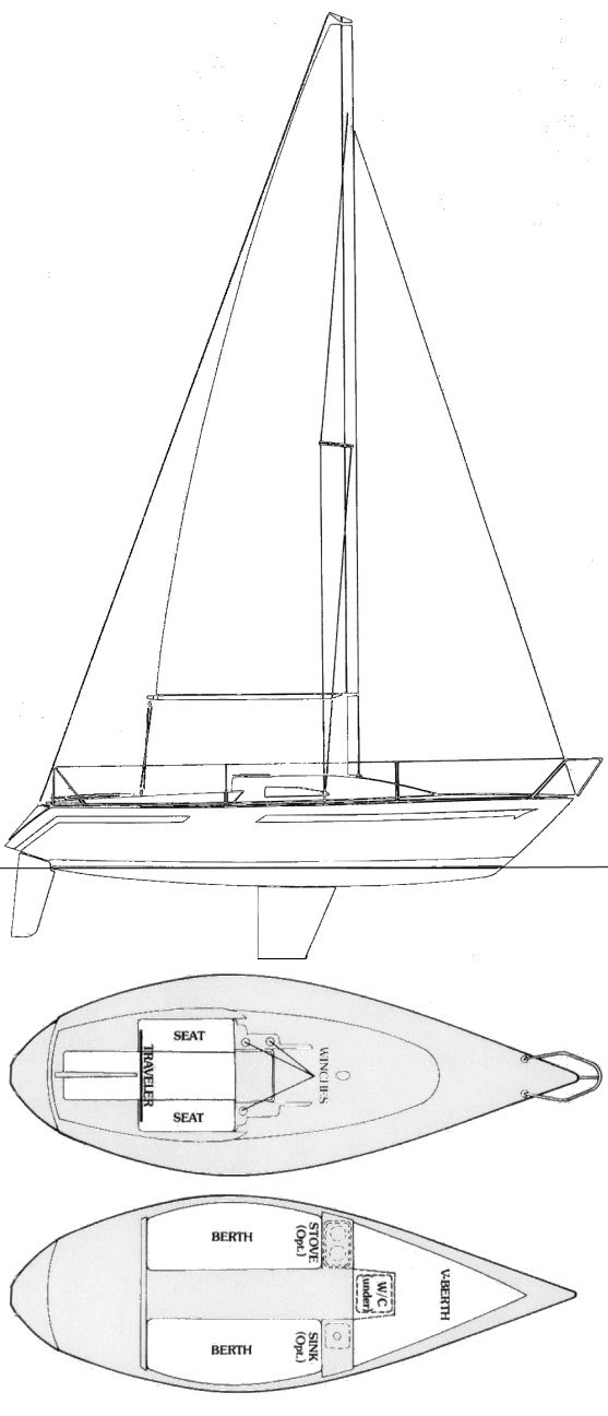 Ranger 22 drawing on sailboatdata.com