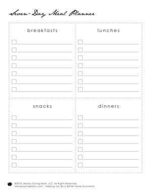 1000+ ideas about Menu Planning Templates on Pinterest | Meal ...