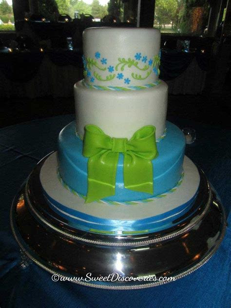 Blue and Green Wedding Cake   Sweet Discoveries