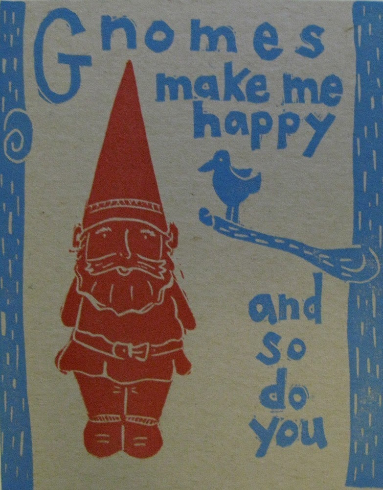 Gnomes Make Me Happy Linocut letterpress print postcard set of 3