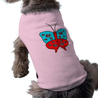 Fancy Butterfly Large With Swirls, Red & Turquoise petshirt