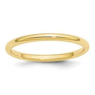 2MM Comfort Fit Plain Wedding Band In 10K Yellow Gold