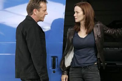 Jack Bauer (Kiefer Sutherland) and Renee Walker (Annie Wersching) in an episode of 24, Season 7.