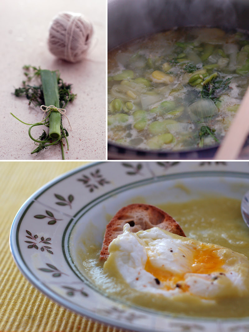 Creamy Broad Bean Soup with a Poached Egg