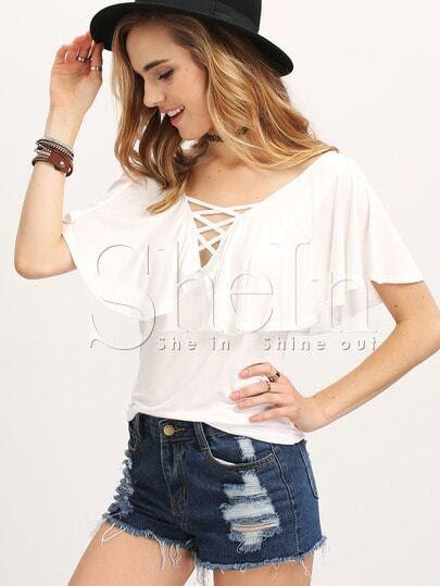 Blusa delantera cruzada manga corta -blanco fotos