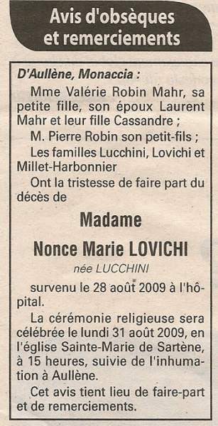 Décès Lovichi Nonce Marie