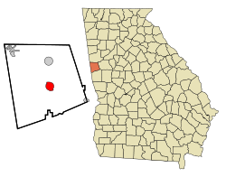 Location in Heard County and the state of Georgia