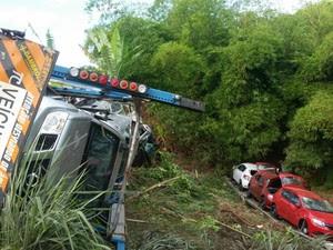 Caminhão tombou e ficou no acostamento da pista (Foto: Arquivo Pessoal/Izael Nascimento)
