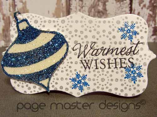 ornament card blue white