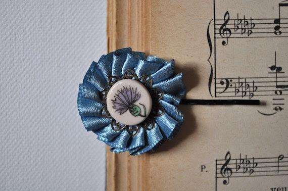 vintage inspired sky blue flower hairpin