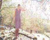 Boho Maxi Dress Vintage Grape Lavender Embroidered Floral Bohemian Maxi Dress  (s) - enidandedgar