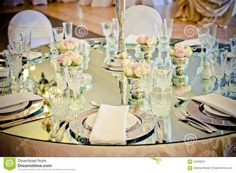 Crystals In A Glass Table Decor Royalty Free Stock Photo