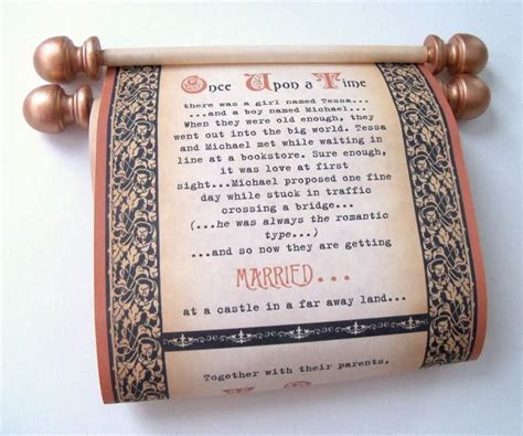 Copper And Black Wedding Invitation Scrolls, Medieval