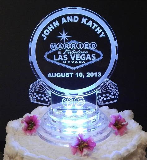 Las Vegas Lighted Wedding Cake Topper Acrylic Cake Top