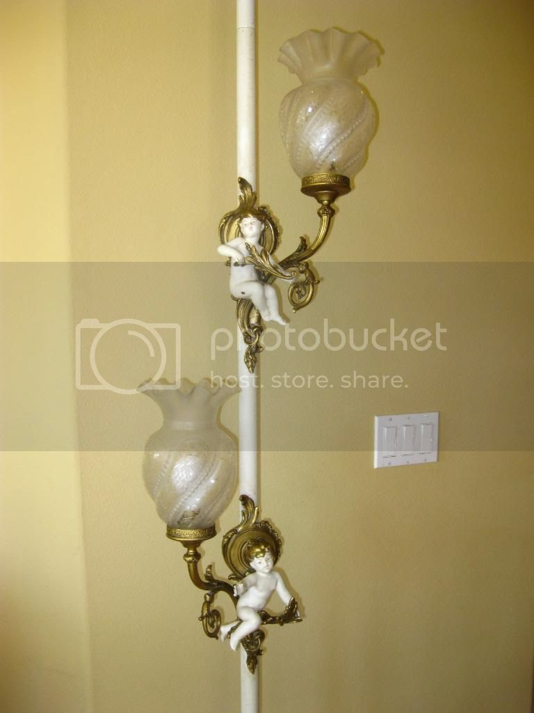 Gorgeous Pole Light Floor Lamp Cherubs Angels French Provincial ...