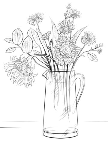 buntute rodo oren sitik bosje bloemen kleurplaat bloemen