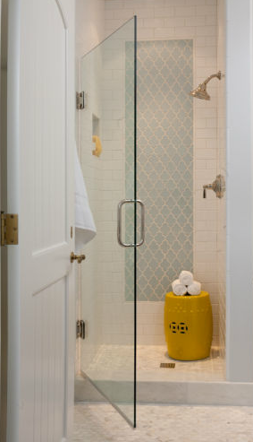 Suzie: Grant K. Gibson - Sweet bathroom with seamless glass shower, yellow garden stool, subway ...