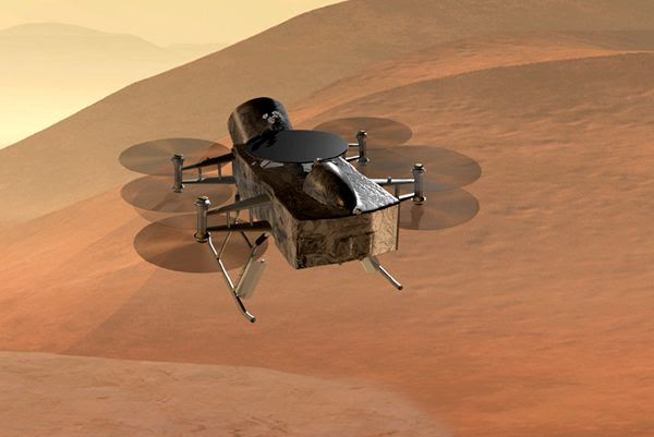An artist's concept of the Dragonfly drone spacecraft designed to study the surface of Saturn's moon Titan.
