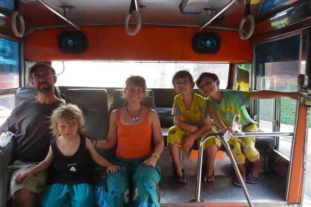 Family portrait, back of the #1 bus, Bangkok