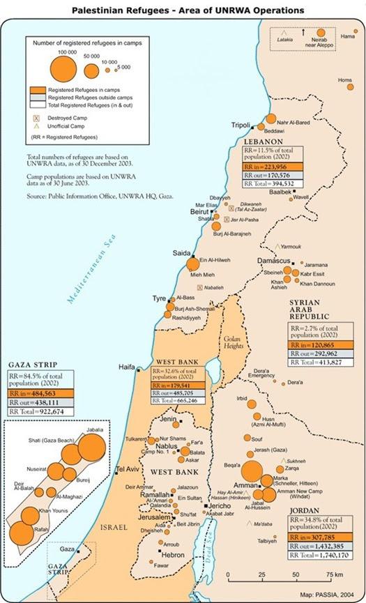 Mappa dei campi profughi palestinesi aggiornata alla fine del 2003. Dopo oltre 60 anni non sono stati assorbiti dai paesi dove si sono riversati. Ancora oggi c'è chi pretende l'assorbimento da parte di Israele di tutti questi rifugiati, in gran parte discendenti degli esuli arabi palestinesi del 1948.