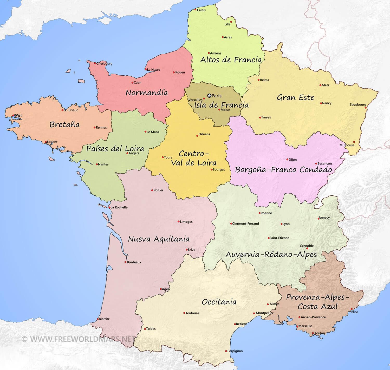Mapa Politico De Francia 2019.Mapa Politico De Francia Mapa