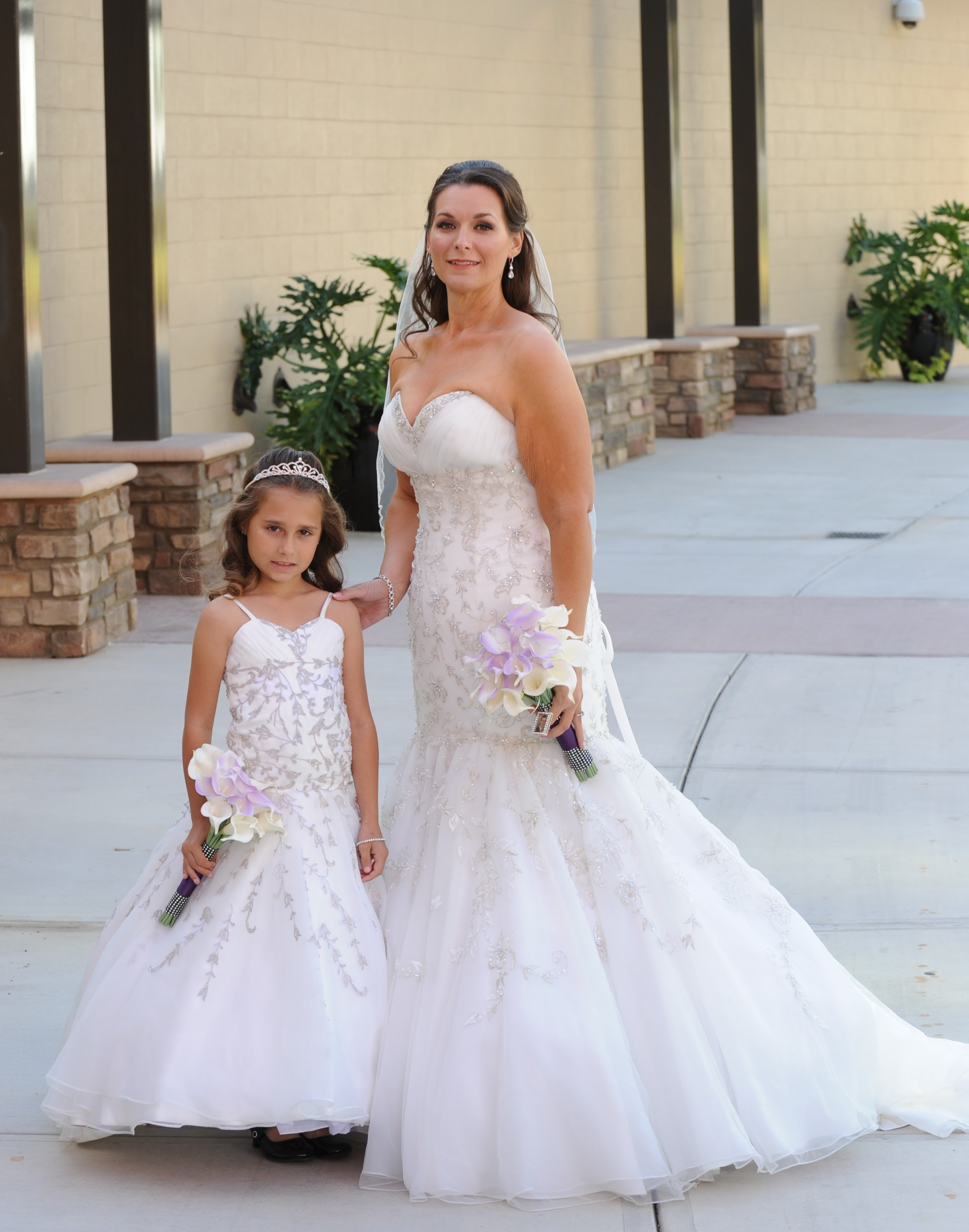flower girl dresses made to match the brides wedding dress