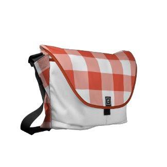 Orange and White Gingham Pattern rickshaw_messengerbag