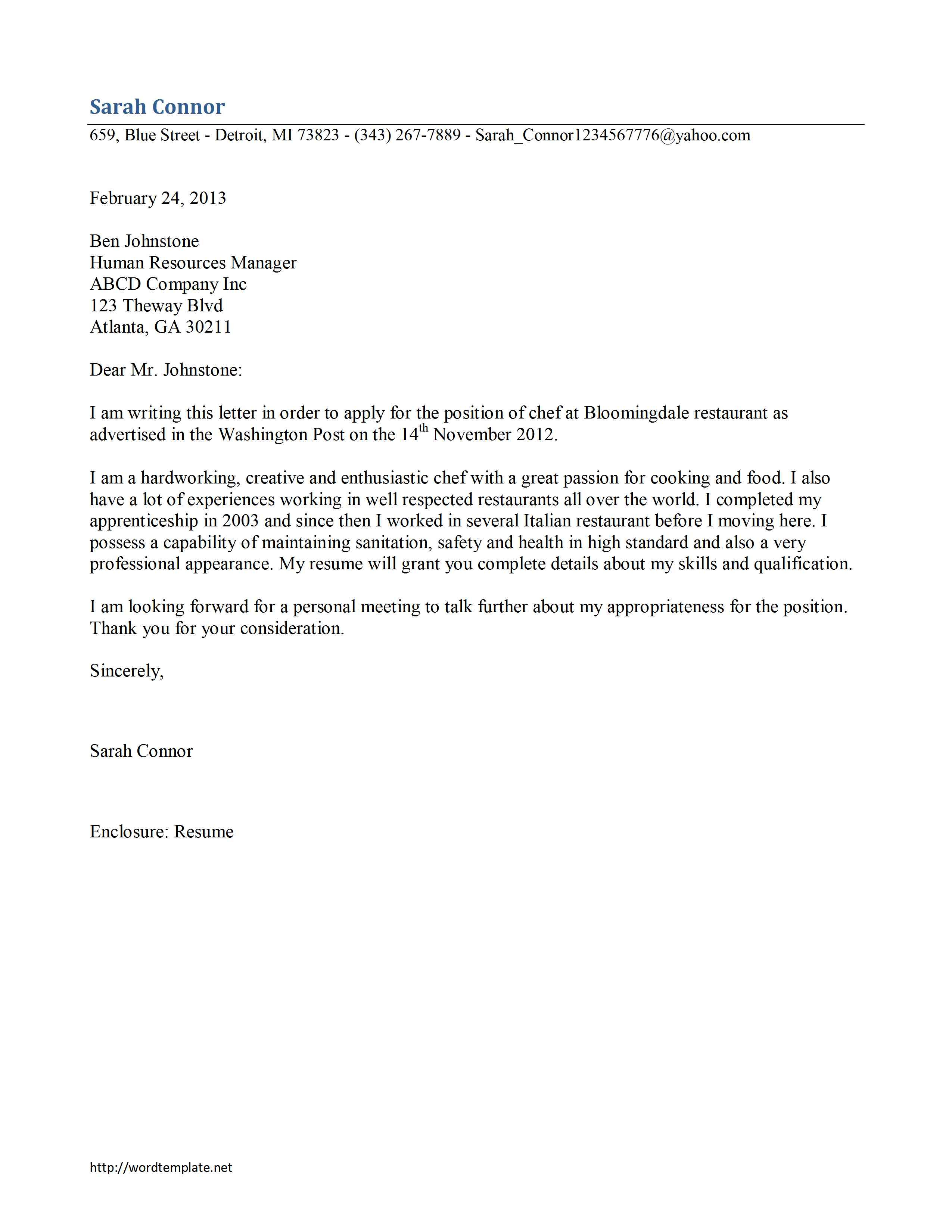 cover letter example  cover letter template microsoft word 2013
