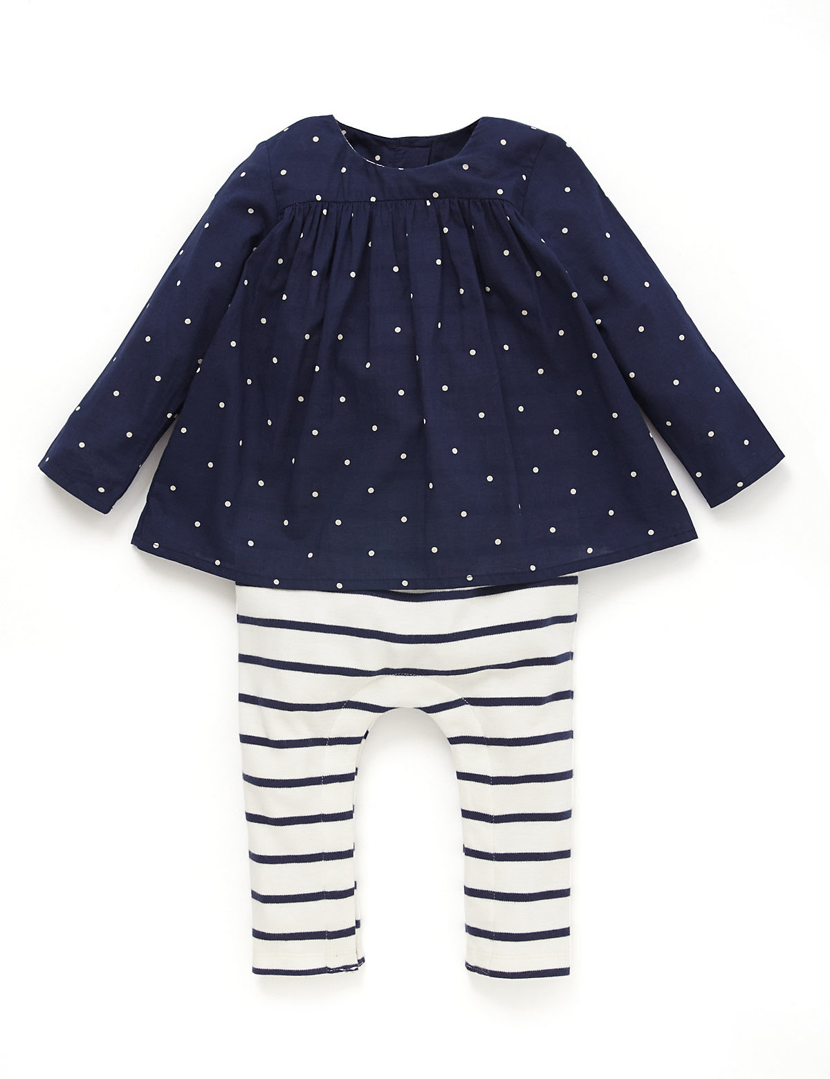2 Piece Pure Cotton Mock Layer Top & Leggings Outfit