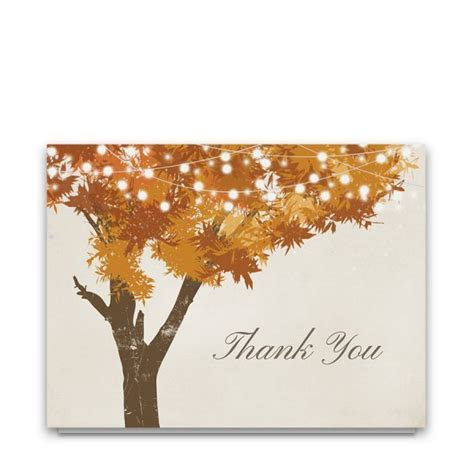 Rustic Fall Tree Leaves Wedding Thank You Cards