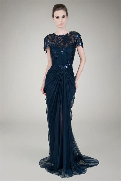 Paillette Lace and Tulle Gown in Navy   Evening Gowns