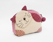 Lovely Kitten Zipper Quilted  Purse (Brown), Small Coin Purse, Zipper Purse - MadeBySiam