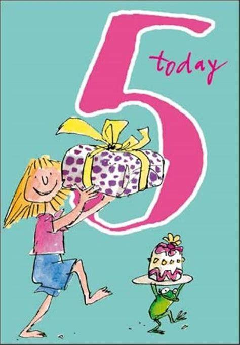 Quentin Blake Girls 5th Birthday Greeting Card   Cards
