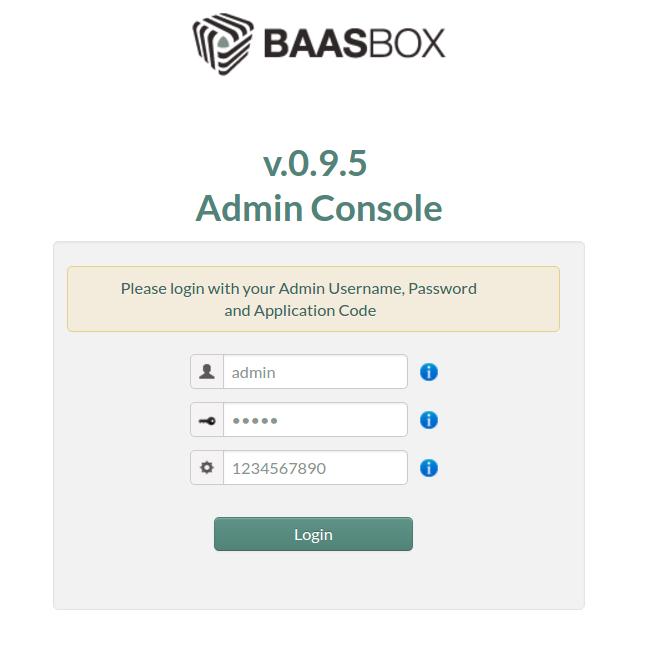 BaasBox Admin Console Login