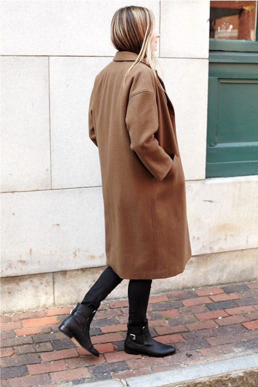 Le Fashion Blog Drop Shoulder Longline Wool Camel Coat Flat Ankle Boots With Buckle Strap Via Emerson Fry