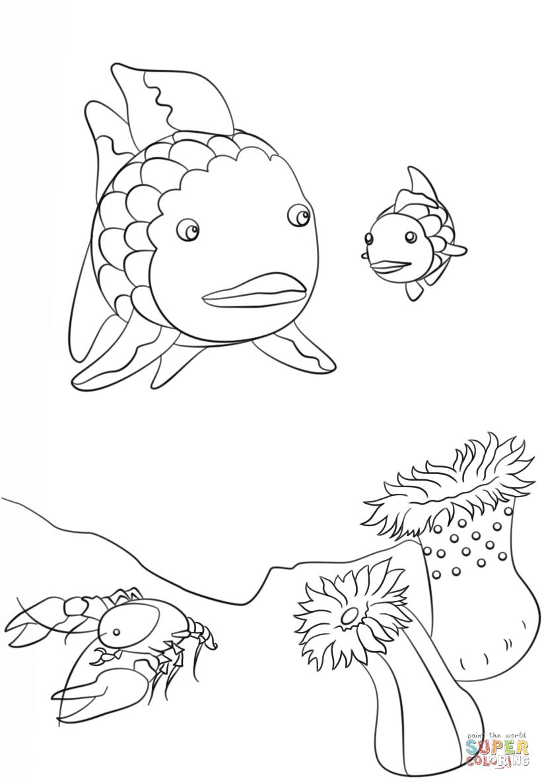 Languste und kleiner Fisch