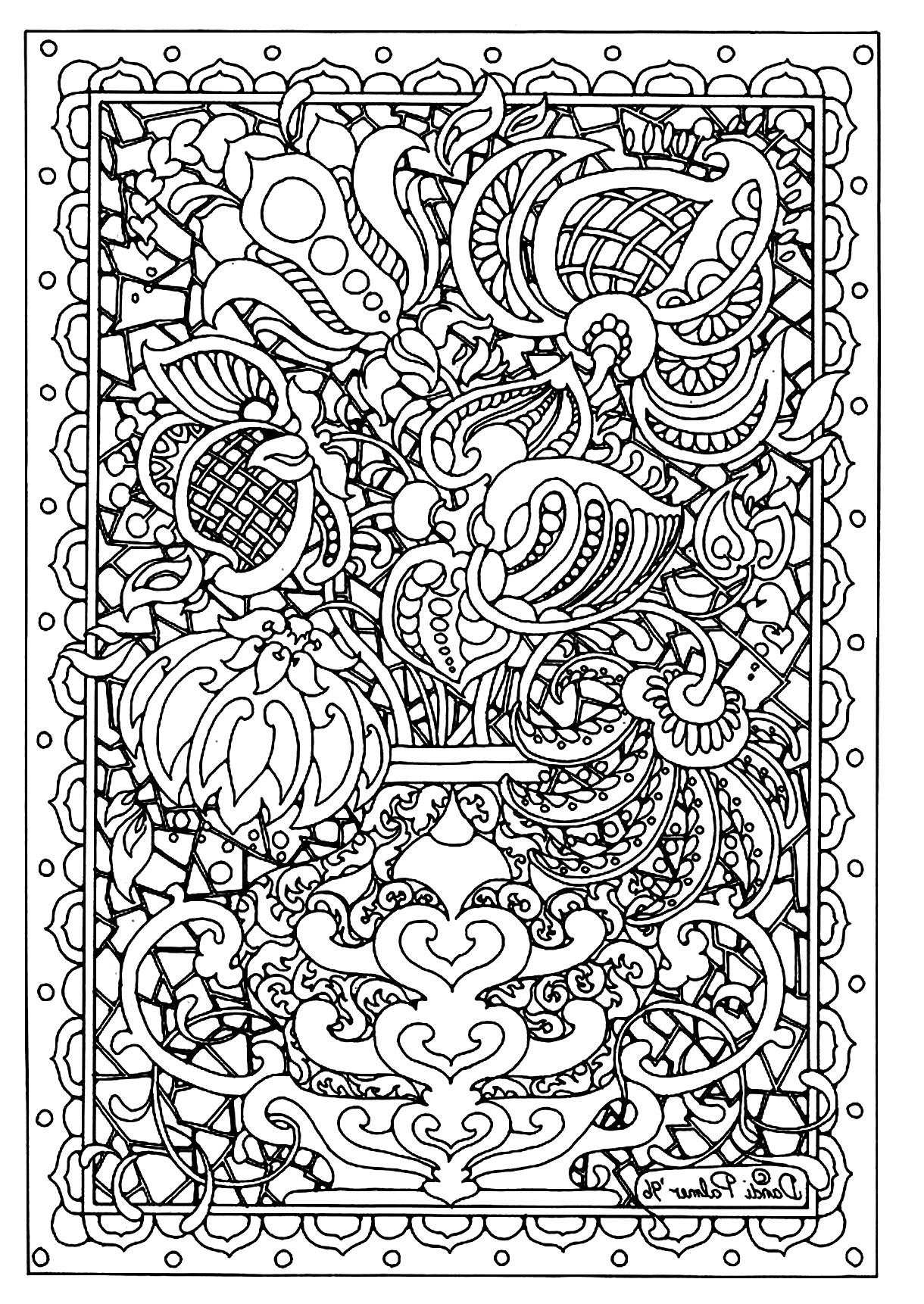 Flower difficult - Flowers Adult Coloring Pages