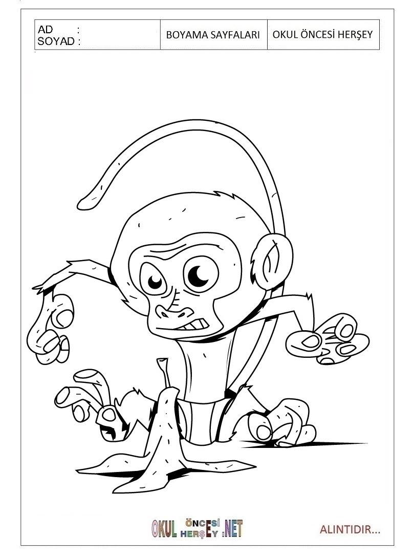Maymun Boyama Sayfaları