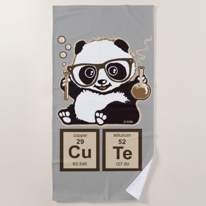 Chemistry panda discovered cute beach towel