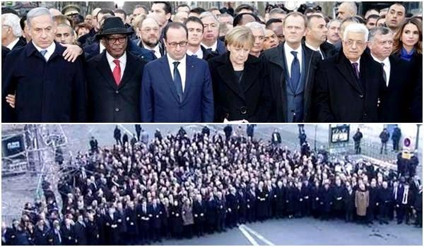 Imagens de líderes mundiais puxando manifestação na frança foi montada