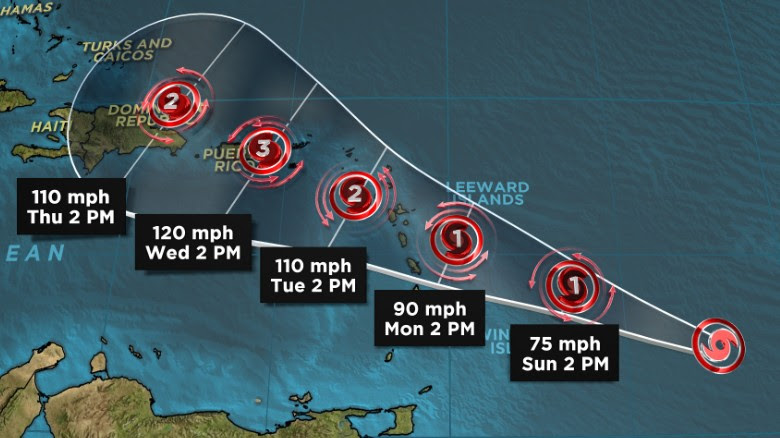 Tropical Storm Maria is expected to become a Category 1 hurricane as it impacts the Caribbean.