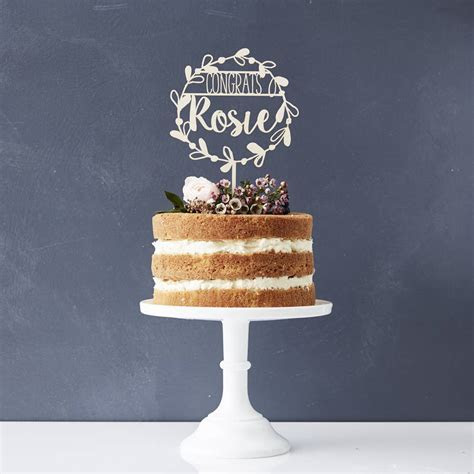 personalised congratulations floral cake topper by sophia