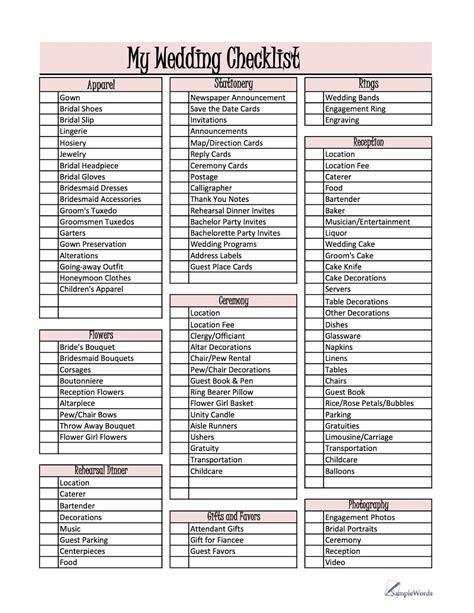 Things to Do List Wedding   Wedding Checklist   Wedding