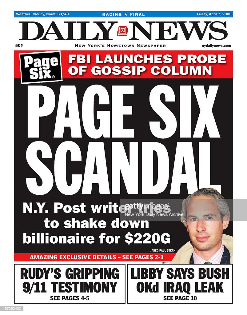 Daily News front page dated April 7, 2006, Headlines: PAGE S ...
