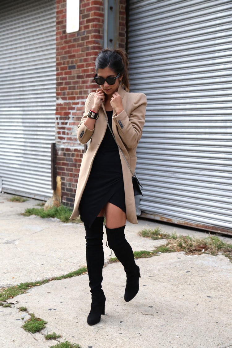 Explained dress over the knee bodycon boots and