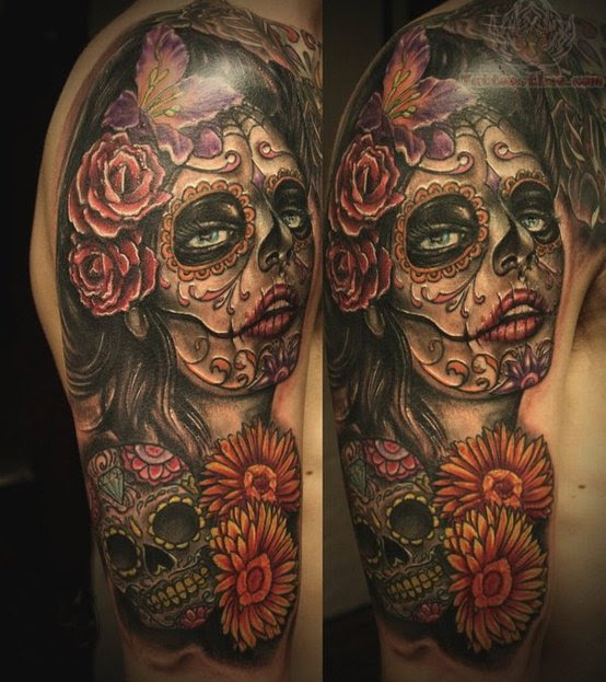 Flowers And Sugar Skull Tattoo On Half Sleeve