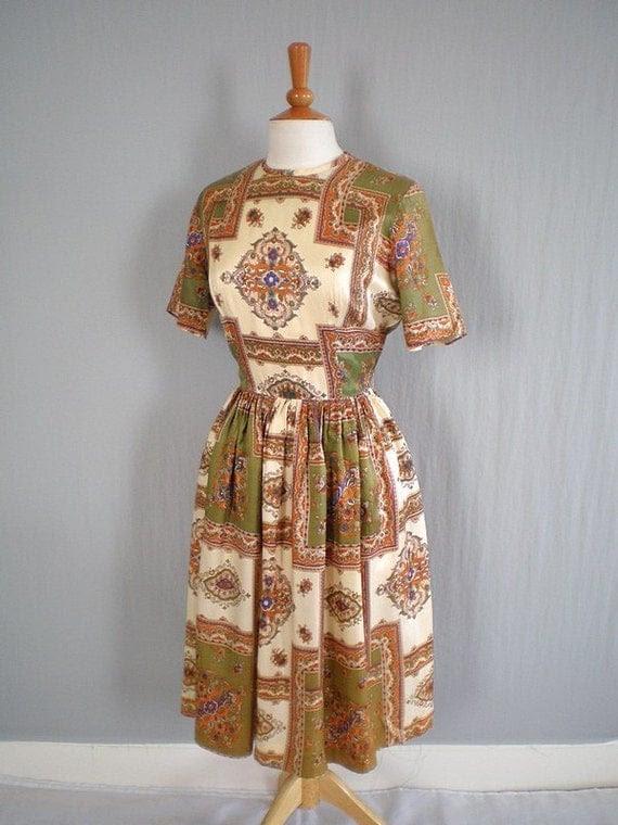 Vintage1960s Scarf Print Day Dress