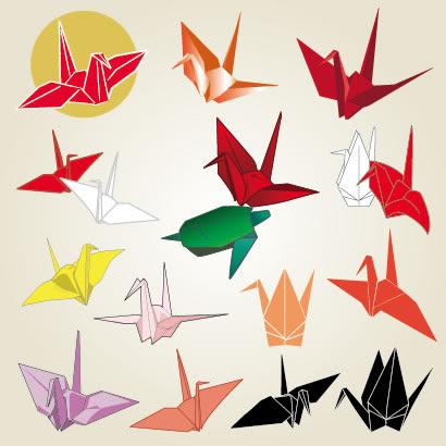 折り紙の折り鶴と亀のイラストaieps ベクタークラブ